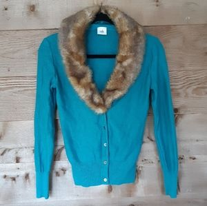 CAbi Teal Cardigan with Removable Faux Fur Collar